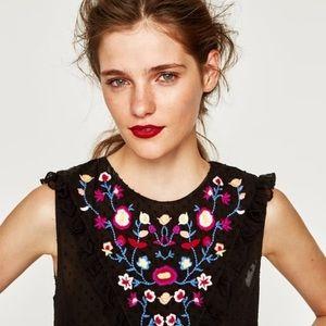 Zara Trafaluc Collection   Floral Peasant Blouse
